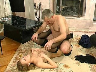 Breathtaking gal with burning fur pie seducing her older worker into wild fucking