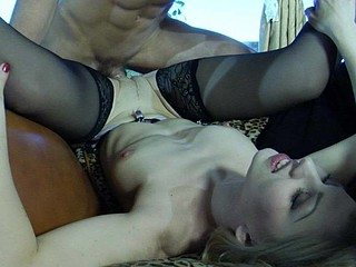 Golden-Haired teaser clad in excellent black stockings seducing a hung delivery man
