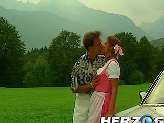 Cute bavarian legal age teenager banged on the hood of a car