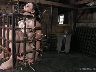 That's what she merits for being a fucking whore. Brunette hair milf Dixon is now in a small bondage cage and her mistress shows her no compassion as she uses her devilish skills to punishment her. Dixon is in ache but..