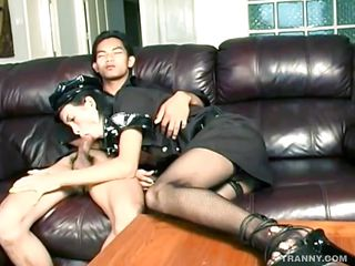 Asian ladyman police officer is taking of this oriental cute boy pants and starts engulfing his hard dick with pleasure. She has a pretty face and big juicy lips that are wrapping perfectly around that cock making this..