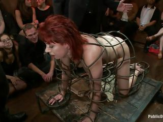 They've putted her in a peculiar cage and as the shaved dude bonks her sexy mouth, three dirty sluts are taking good care of her ass. She is fucked from both ends and the vibrator and fingering she's getting on her wazoo..