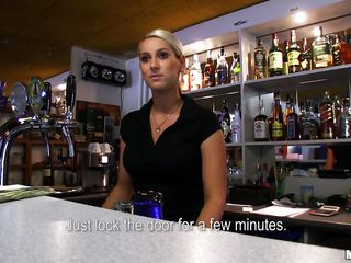 Lenka is a sexy blonde bartender and agrees to go down on a slutty stranger who approaches her at the bar. She gets on her knees in the back and starts to lick that big hard dick passionately. He picks up her shirt and..