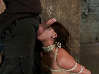 She's a slut and her body is tied up hard. They are going to teach her a hard lesson about sex and after that babe grabbed by the head and putted to lick that busty brunette ass this babe receives a hard dick in her..