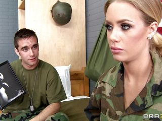 Look at this hot marine babe Nicole Aniston, she is a hot, blonde hair, juicy lips, gorgeous eyes and perfect big tits. Her ally is filming her and she gets down on her knees getting ready to wrap those juicy sexy lips..