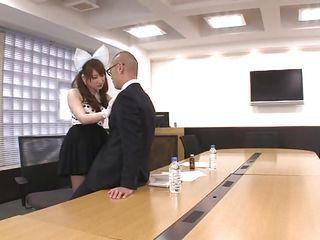 Asian wench Yui goes a bit crazy when she sees a man in suit. So, without hesitation this slutty cutie kneels in front of the guy, takes out his hard cock, licks his stomach and gives his dick a concupiscent suck. Look..