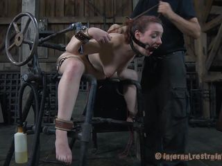 Maggie is a sweet fragile playgirl with milky white skin and a very fragile body. She is tied on metal bars and has a brutal sex machine behind her that drills her pussy. Her tits are tortured too and sucked by the..