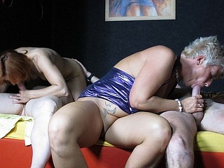 A pair of swinger ladies go down and bend over for youthful studs.