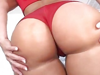 Oiled up brunette pleasures hot dick