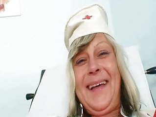 Nasty nurse mamma id like to fuck Nada fucks herself together with big rubber toy