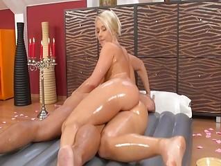 Slippery massage babe fucked