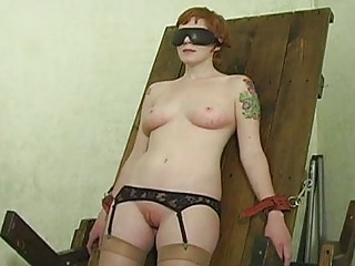 Slave hogtied in her panties