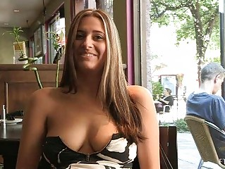 Patricia hot milf with sunglasses flashing love bubbles in public and buying banana