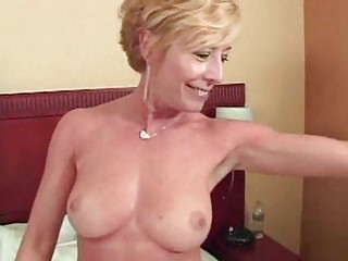 Blonde lewd mature wench gang banged and heavy facialized