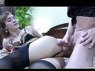Lusty sissy wearing lacy underclothing and black nylons getting to booty-riding