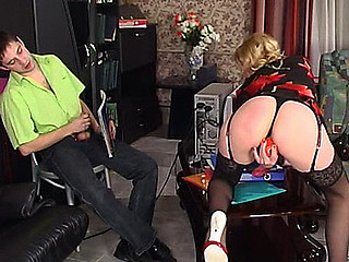 Awesome gal in fancy nylons diddling her love tunnel in front of her boyfriend