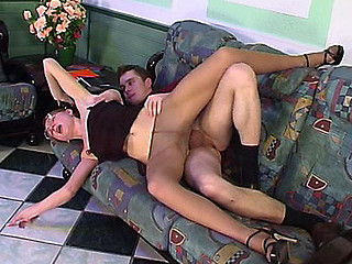 Heated aged gal in slight sheen hose getting fucked in cowgirl style