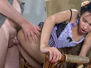 Lusty dad makes passes at his cute youthful maid and fucks her fresh beaver