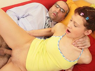 Slutty pigtailed coed lets her perverted old teacher have a fun her gorgeous juvenile body and drill her constricted butt