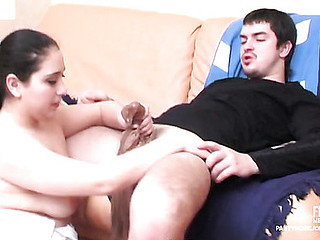 Curvy sweetheart gives smashing pantyhosejob and bonks in doggie for jizzed hose