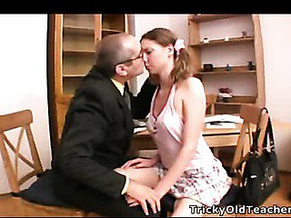 Filthy hardcore action in teacher's office occurs when horny old freak brutally bonks his juvenile coed