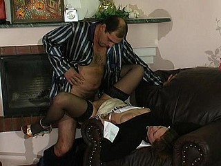 Aged male giving sex toy to his youthful French maid to do her fucking duties