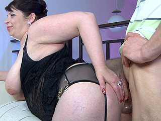 Fleshy mommy sucks and tit bonks a boner in advance of getting banged doggy position