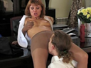 Sexually excited secretary licking sheer tights starving for rock hard shaft in her mouth