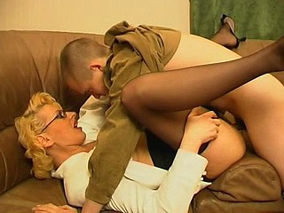 Concupiscent mother i'd like to fuck teasing younger guy with her skills in ramrod-engulfing and riding