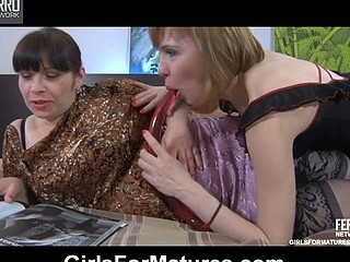 Nasty lez hotty produces a large jelly toy eager to share it with a chubby mommy