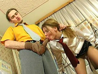 Nasty coed summoned to her teacher learning some hose fucking tricks