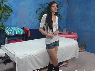 Raunchy dark brown chick with admirable forms of body takes off top, jean shorts, high boots and miniature pants in anticipation of getting fine massage from one dude. They fuck hard after the wonderful massage.