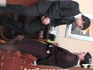 Concupiscent secretary in strict office suite and nylons opening up her wazoo cheeks