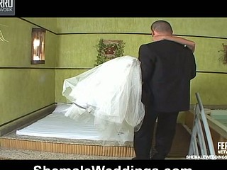 Awesome shemale wife getting into naughty mood during her first wedding night
