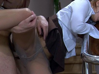 Lusty secretary surrenders to a fucking break out of taking off her tights