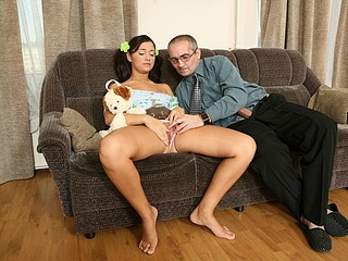 A filthy old professor invites his sexy student to his place and bangs her like a hammer on a nail.