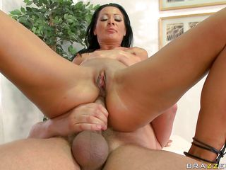 Sandra Romain is riding a thick stick in reverse, first having her pussy stuffed, then having her ass filled. She gets every inch of the meatstick in her back door, sometimes fingering her twat while she does. After a..