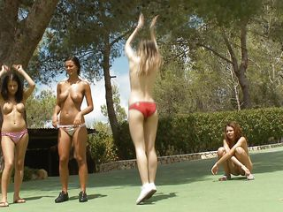 They are playing with a ball outside, those cuties are having a great outdoor fun and slowly get completely naked. All that playing made them hot and sweaty so why not nifty down with some water and lesbian sex. One of..