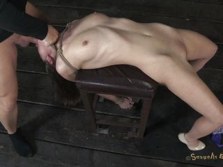 Hawt horny Casey on heels has her hands tied up by Matt. He prepares a chair for her and starts dominating her. He puts his hard cock inside her dirty mouth and throat fucks her. At the same time, he plays with that..