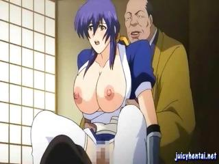 Blue-haired hentai babe with a set of huge knockers gets fucked by an older chap