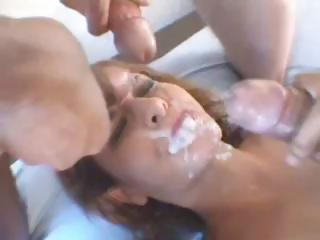French brunette bitch sucks and fucks with a DP and gets jizzed on