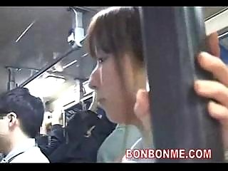 Schoolgirl blowjob to geek on bus 02