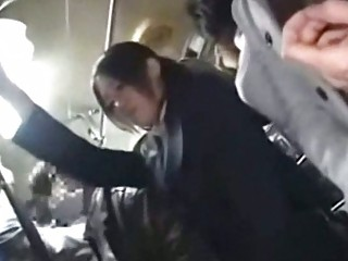 Office lady seduced screwed by geek on bus