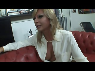 Blonde Italian Lady-boy Allana fuck on sofa