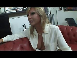 Blonde Italian Lady-boy Allana fuck on sofa