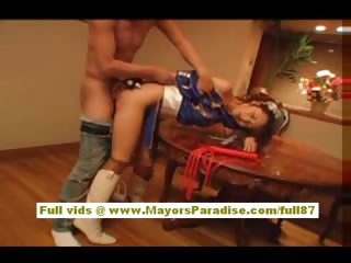 Japanese model in uniform receives a hard drilling in her muff