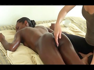 Massage on bed for dark girl