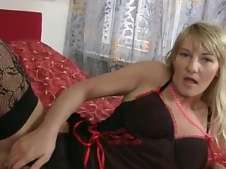 Sexy golden-haired cougar round giant natural tits receives naked off her lingerie and gives her  curly pussy the great fucking close to the vibrator