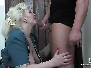 Upskirt aged maid getting her bunghole fingered and fucked for a mouthful