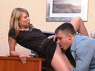 Female co-worker showing her pantyhosejob and dong-riding skills at work
